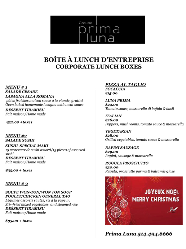Corporate christmas Menu